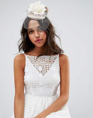 Asos Design Floral Fascinator With Bow Detail