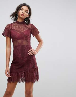 Asos DESIGN Delicate Patchwork Lace Mini Dress with Asymmetric Hem