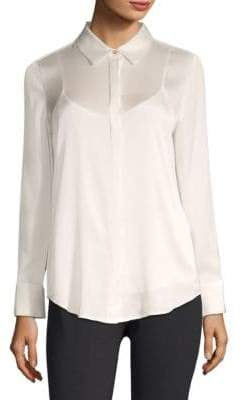 Donna Karan Long Sleeve Button-Down Shirt with Camisole