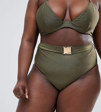 Wolf & Whistle Curve High Waist Bikini Bottom With Belt In Khaki