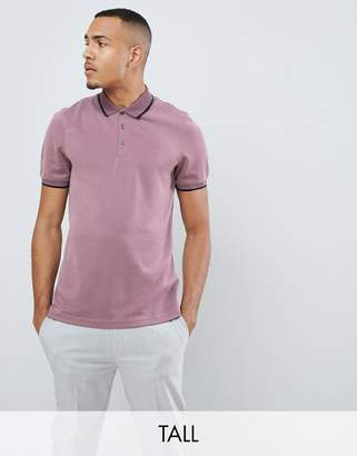 Ted Baker Tall polo shirt with contrast print collar in pink