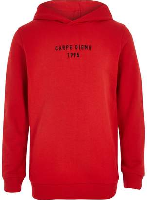 River Island Boys red 'carpe diem' taped hoodie