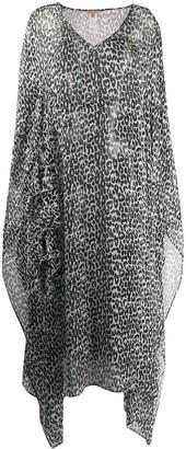 Ermanno Scervino sheer draped leopard print dress