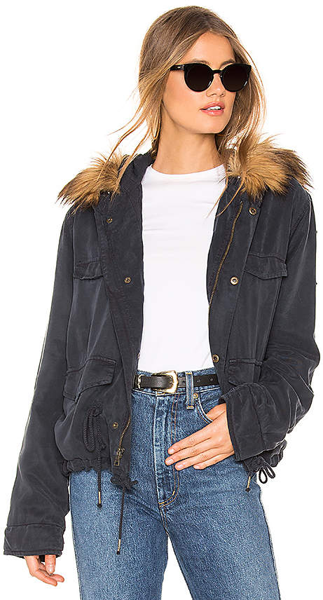 YFB CLOTHING Wells Crop Jacket With Faux Fur Lining