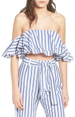 WAYF Cerignola Ruffle Off the Shoulder Crop Top