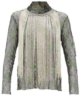 Romance Was Born Stardust Beaded Fringe Metallic Lace Top - Womens - Green Multi
