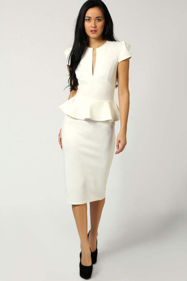 boohoo Emily Slit Neck Cap Sleeve Peplum Midi Dress 15