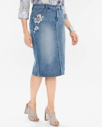 Embroidered Denim Pencil Skirt