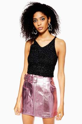 Topshop Womens Petite Tinsel Fluffy Bralet - Black