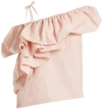 Marques Almeida MARQUES'ALMEIDA One-shoulder ruffled cotton-blend top