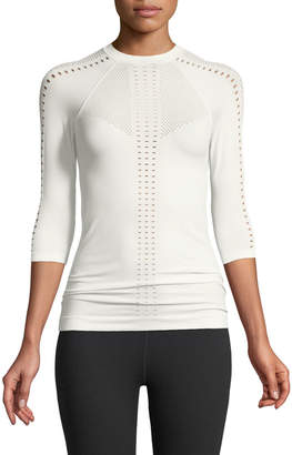 Varley Oliver Crewneck 3/4 Sleeve Perforated Jersey Top