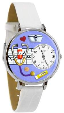 Whimsical Watches Nurse Purple Watch in Silver (Large)