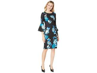 Calvin Klein Floral Print Bell Sleeve Dress