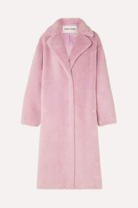STAND - Maria Cocoon Oversized Faux Shearling Coat - Lilac