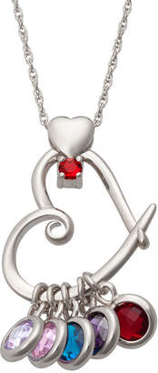 FINE JEWELRY Personalized Sterling Silver Simulated Birthstone Heart Pendant Necklace