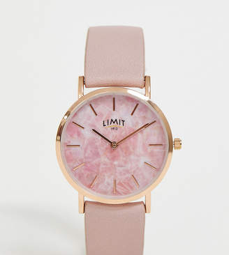 Limit faux leather watch in pink with marble dial