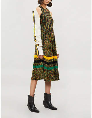 Calvin Klein Striped ribbed wool-blend midi dress