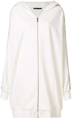 Amen embellished sleeve oversized hooded jacket