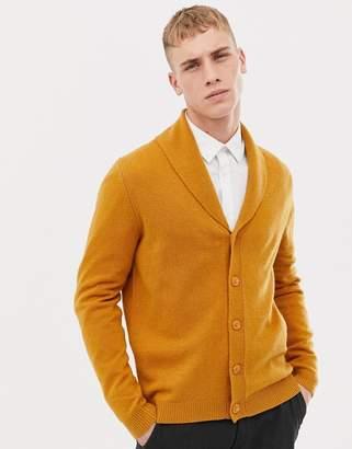 Asos Design DESIGN lambswool shawl cardigan in mustard