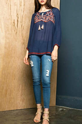 THML Clothing Embroidered Tassel Top