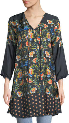 Johnny Was Delight Neck-Tie Floral-Print Silk Tunic