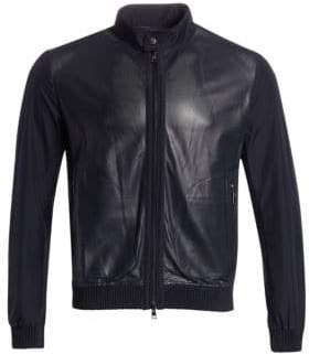 Saks Fifth Avenue COLLECTION Perforated Mixed Media Leather Jacket