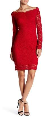 Marina Long Sleeve Off-Shoulder Lace Dress $129 thestylecure.com