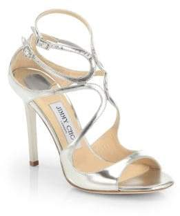 Jimmy Choo Lang Strappy Mirror Leather Sandals