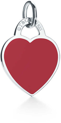 Tiffany & Co. Return to TiffanyTM heart tag charm in sterling silver and red enamel, small