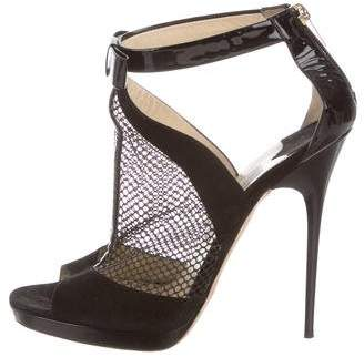 Jimmy Choo Suede Mesh-Accented Booties