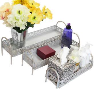Ikee Design 3-Piece Metal Storage Bathroom Accessory Tray Set