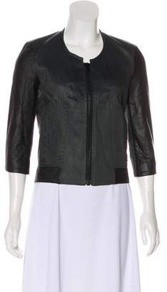 Helmut Lang Leather-Trimmed Zip-Up Jacket w/ Tags