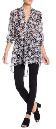 Papillon V-Neck Floral Print Semi-Sheer Blouse