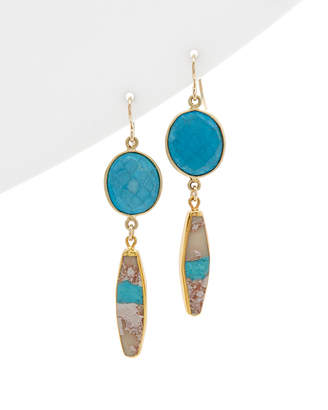 Devon Leigh 24K Yellow Gold Foil & 18K Yellow Gold Plated Turquoise Earrings