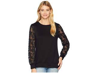 Bobeau Long Sleeve Lace Sweatshirt Women's Sweatshirt
