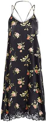 R 13 Floral Lace-Up Back Silk Slip Dress