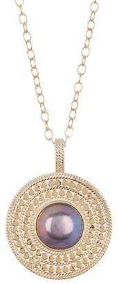 Anna Beck Blue Pearl Medallion Pendant Necklace
