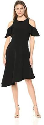 London Times Women's Cold Shoulder Asymmetrical Hem Dress
