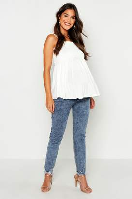boohoo Maternity Acid Wash Skinny Jean