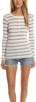 Warehouse ATM Striped Long Sleeve Rib Henley