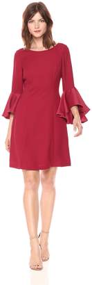 Adrianna Papell Women's Crepe-Back Satin with Ruffle Sleeve Dress
