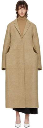 Jil Sander Brown Wool Knit Pocket Coat