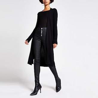 River Island Black longline rib knitted cardigan