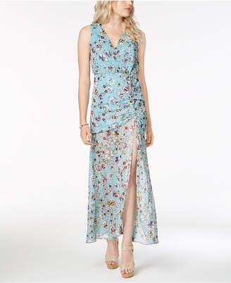 GUESS Nadira Sheer-Hem Gathered Maxi Dress