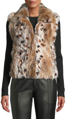 Adrienne Landau Animal-Print Rabbit Fur Vest