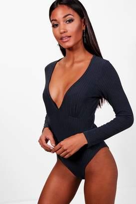 boohoo V Neck Rib Knit Bodysuit