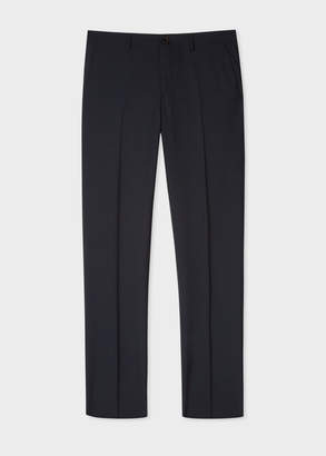 Paul Smith Men's Mid-Fit Dark Navy Small-Check Wool Trousers