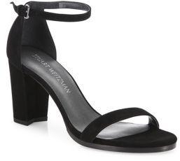 Stuart Weitzman Nearlynude Suede Block Heel Sandals