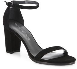 Stuart Weitzman Nearlynude Suede Block Heel Sandals $398 thestylecure.com