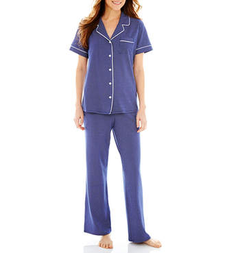 Liz Claiborne Short-Sleeve Shirt and Pants Knit Pajama Set